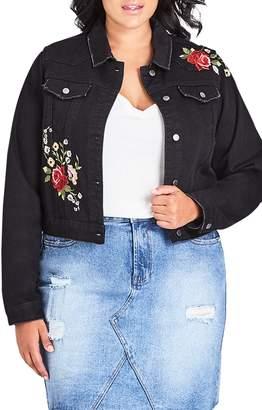 City Chic London Rose Embroidered Denim Jacket