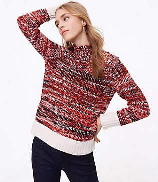 LOFT Petite Spacedye Turtleneck Sweater