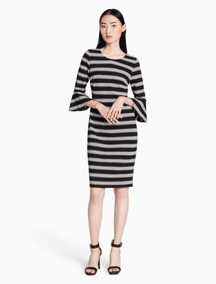 Calvin Klein striped flutter sleeve dress