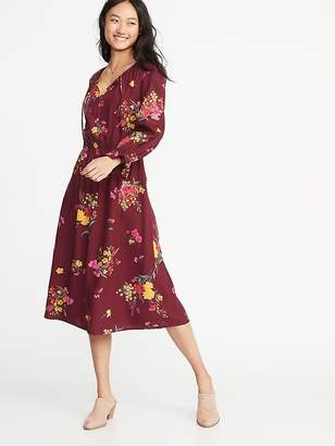 Old Navy Waist-Defined Poet-Sleeve Midi for Women