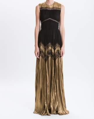 J. Mendel Noir/Gold Mixed Lurex Chiffon Hand-pleated Gown