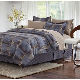 Brown & GreyTM Shadow Box Brown 6-piece Twin Bed-In-Bag Set