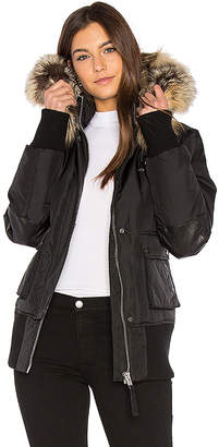Nicole Benisti Fordham Bomber Down Jacket with Gold Fox and Asiatic Rabbit Fur