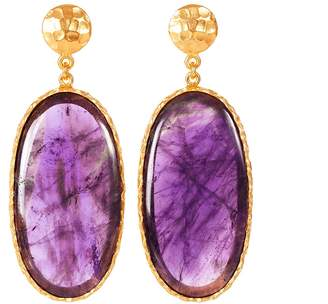 Christina Greene - Large Drop Earrings in Amethyst