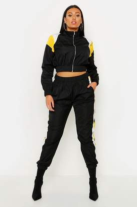 boohoo Plus Colour Block Shell Tracksuit Jogger