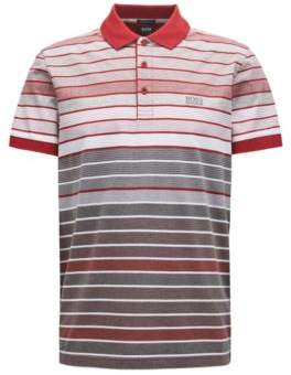 BOSS Hugo Regular-fit striped polo shirt in mercerized cotton L Grey