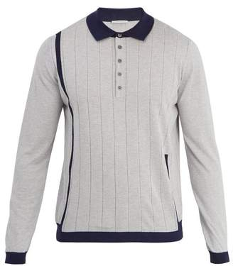 Falke Ess - Long Sleeved Striped Silk Blend Polo Shirt - Mens - Grey Multi