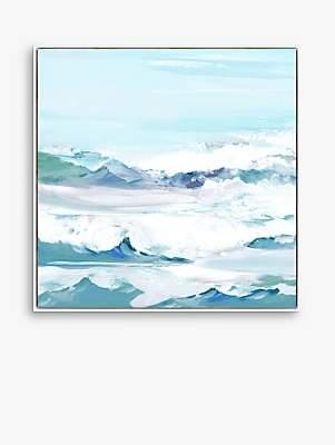 John Lewis & Partners Valeria Mravyan - High Tides I Framed Canvas Print, 104.5 x 104.5cm, Blue