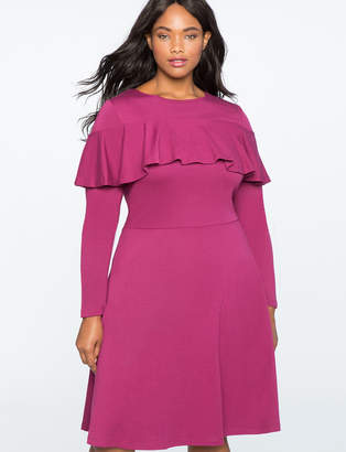 ELOQUII Flounce Overlay Fit and Flare Dress