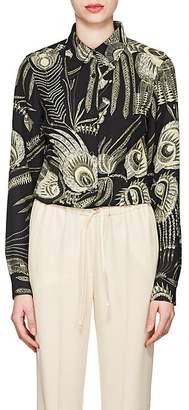 Dries Van Noten Women's Feather-Print Crepe Blouse