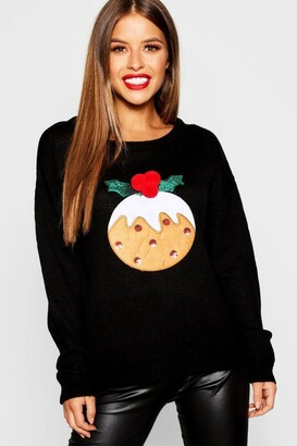 boohoo Petite Christmas Pudding Jumper