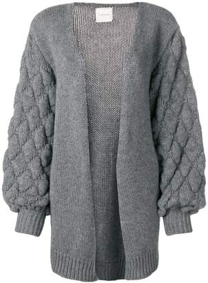 Fine Edge diamond knit open cardigan