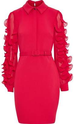 Badgley Mischka Ruffled Chiffon-Trimmed Cady Mini Shirt Dress