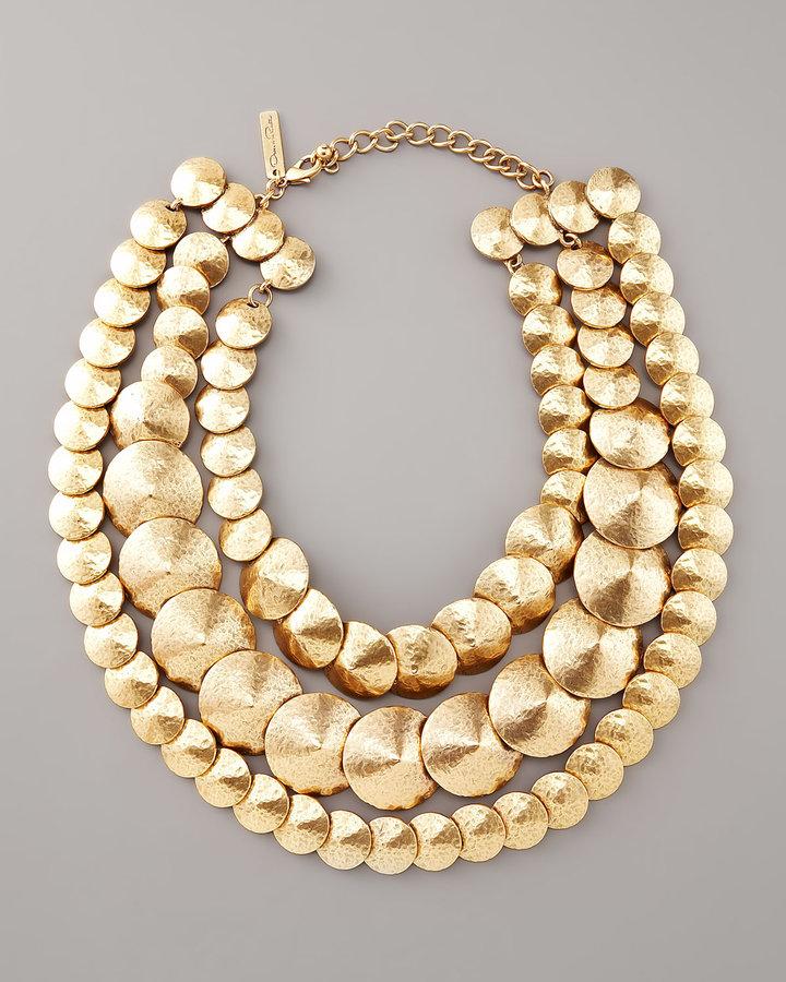 Oscar de la Renta Three-Strand Cone Bib Necklace