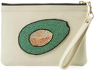 Tea & Tequila Beaded Avocado Clutch Bag, White