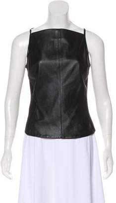 Gareth Pugh Sleeveless Leather-Paneled Top