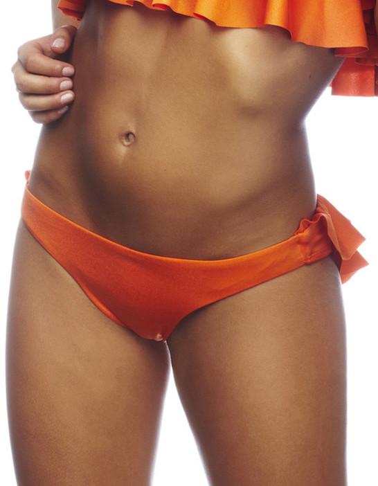 Nicolita Swimwear - Rumba Ruffles Orange Ruched Bikini Bottom