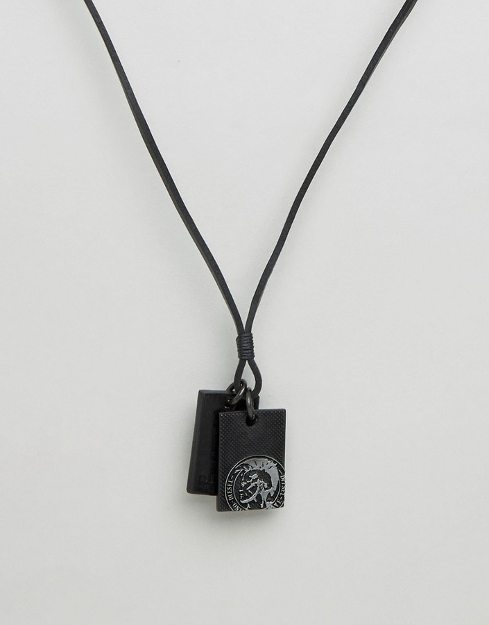 Diesel Diesel A-Neck Sunrise Up Leather Dogtag Necklace