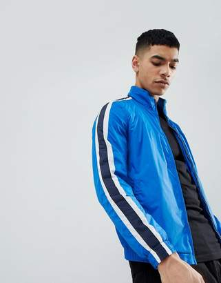Pull&Bear Track Jacket In Blue With Side Stripe