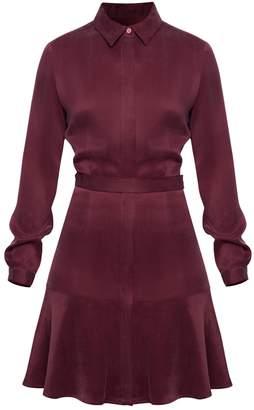 Undress Kavya Burgundy Flared Mini Shirt Dress