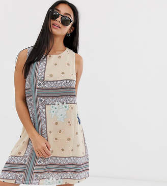 Glamorous Petite printed shift dress with tie back