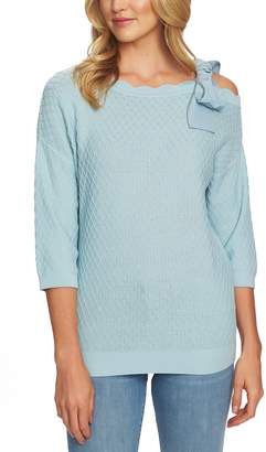 CeCe Cold Shoulder Diamond Jacquard Sweater