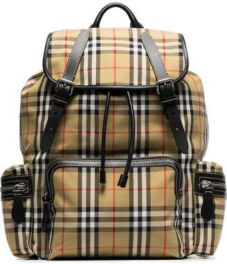 Burberry brown classic check cotton canvas backpack