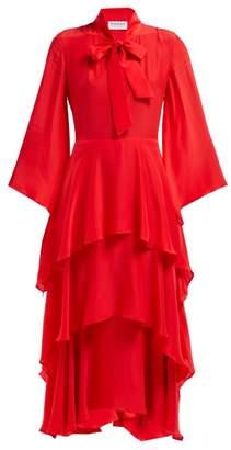 Osman Henra Silk Satin Tiered Midi Dress - Womens - Red
