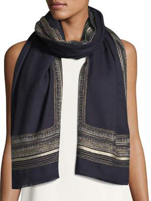 Janavi Metallic Border Cashmere-Wool Scarf