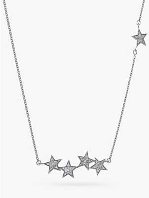 Hot Diamonds Glint 9ct White Gold Diamond Multi Star Necklace