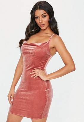 Missguided Rose Pink Velvet Cowl Bodycon Mini Dress