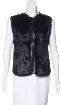 Vince Fur-Accented Leather Vest