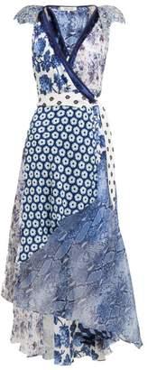 Diane von Furstenberg Ava Contrast Panel Silk Wrap Dress - Womens - Blue Print