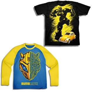 Transformers Short Sleeve Bumblebee Graphic Tee with Long Sleeve Tee 2 Pack Value Bundle (Little Boys & Big Boys)