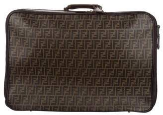 Fendi Zucca Leather-Trimmed Suitcase