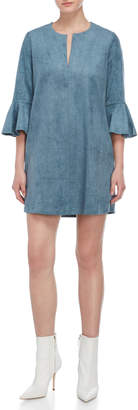 BCBGMAXAZRIA Faux Suede Bell Sleeve Shift Dress