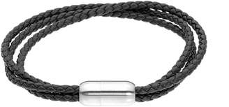 Lynx Men's Stainless Steel Magnetic Lock Leather Bracelet