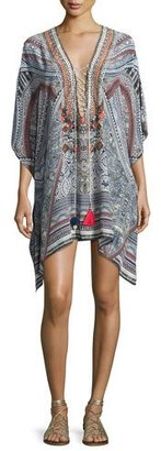Camilla Short Lace-Up Caftan Coverup, Antique Batik $500 thestylecure.com