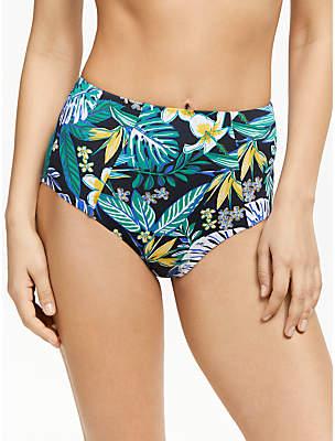 John Lewis & Partners Melaya Palm High Waist Control Swim Briefs, Blue/Green
