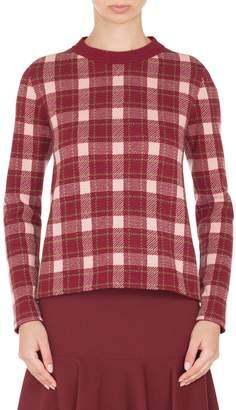 Akris Punto Brit Check Wool & Cashmere Pullover