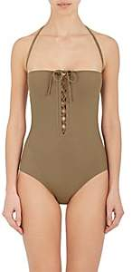 On The Island Women's Lacing-Accented One-Piece Swimsuit - Khaki