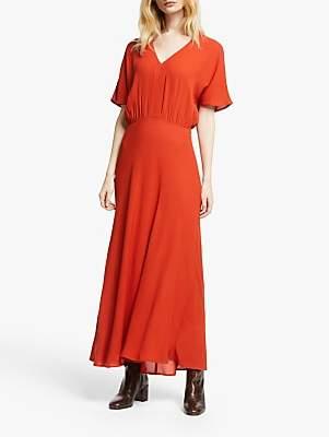 John Lewis & Partners Grown On Sleeve Dress, Dark Red