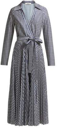 Valentino Optical Print Wrap Shirtdress - Womens - Navy Print