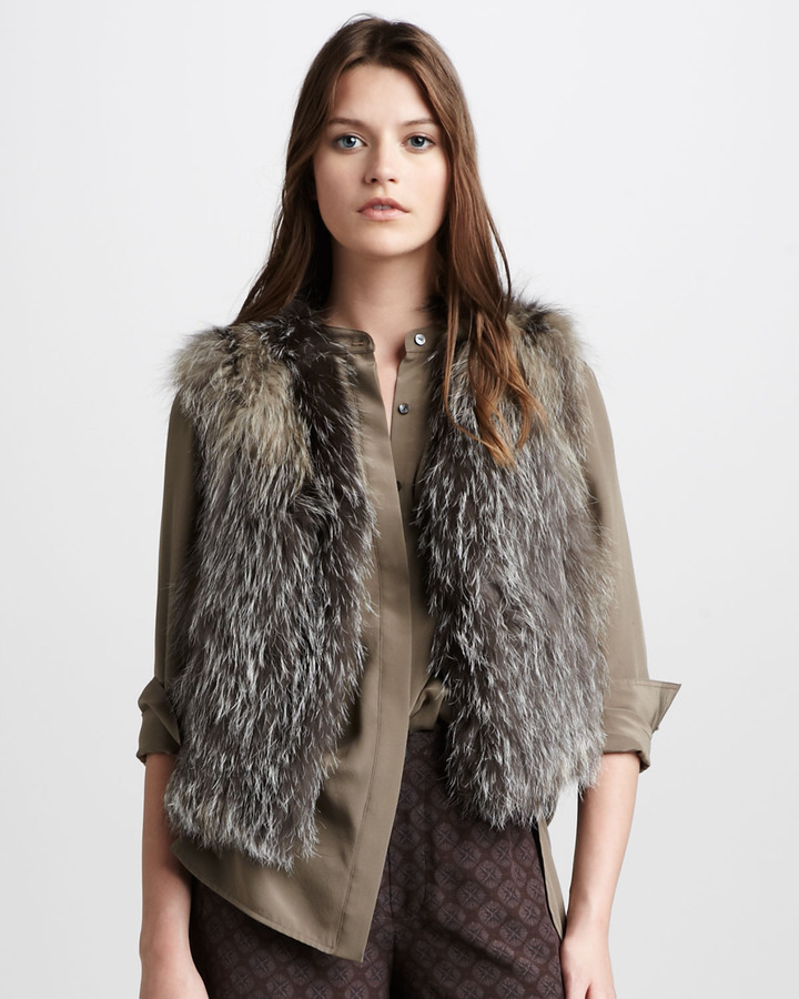 Vince Cross Fox Fur Vest