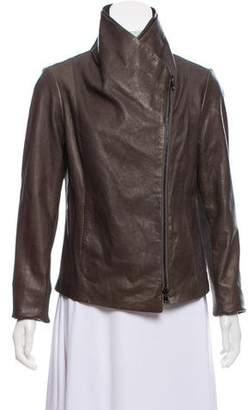 Vince Wool-Trimmed Leather Jacket