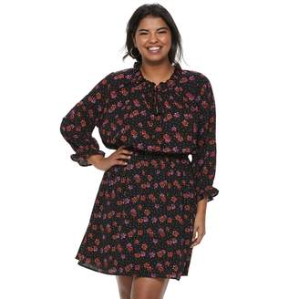 Wrapper Juniors' Plus Size Floral Dotted Peasant Dress