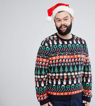 Asos Plus Christmas Jumper With All Over Design In Navy