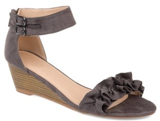Brinley Co. Womens Ruffle Ankle-strap Wedge