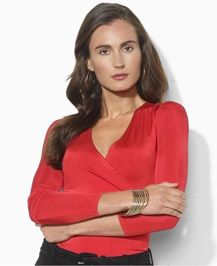 Lauren Ralph Lauren Top, Long-Sleeve Faux-Wrap Jersey
