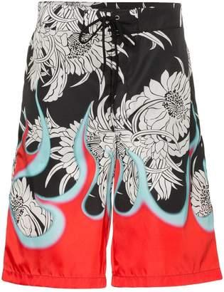 Prada Dahlia flame print swim shorts